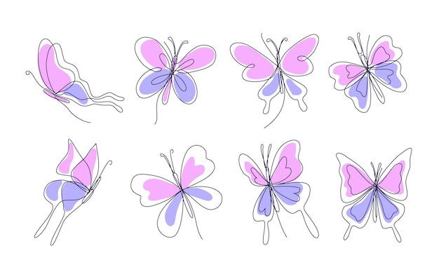 Butterfly outline with drawn details collection