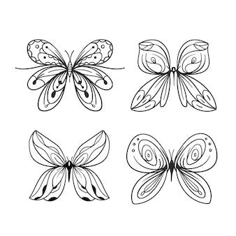 描かれた詳細コレクションと蝶の輪郭