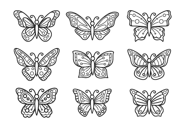 Butterfly outline with linear flat details collection