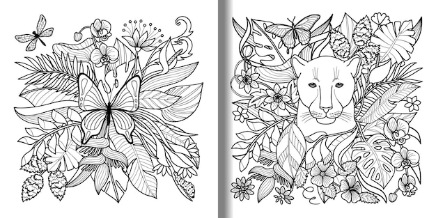 Butterfly and panther tropical prints set