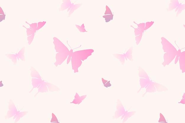 나비 패턴 배경, 여성 핑크 미적 벡터