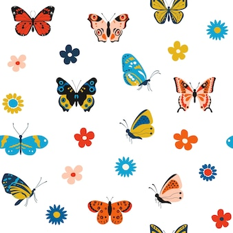 Butterfly pattern cartoon seamless texture for print with colorful flying insects
