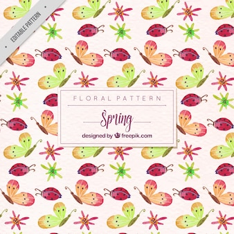 Butterfly pattern and watercolor ladybugs