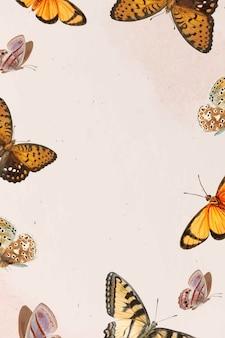 나비 패턴 흰색 배경 벡터에