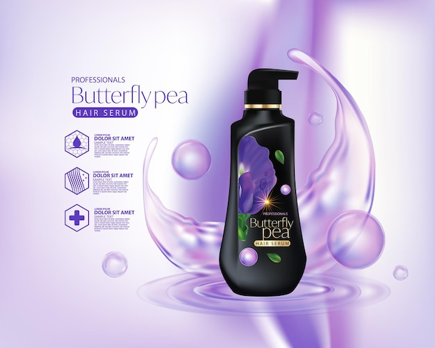 Butterfly pea flower hair care shampoo packaging