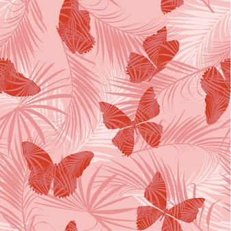 Butterfly on the pink forest seamless pattern