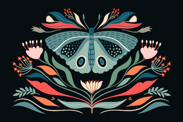 Butterfly and plants illustration