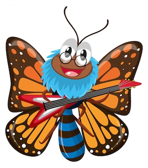 Butterfly playing electric guitar