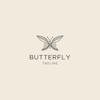 평면 스타일 로고 템플릿이 있는 나비 프리미엄 라인 로고