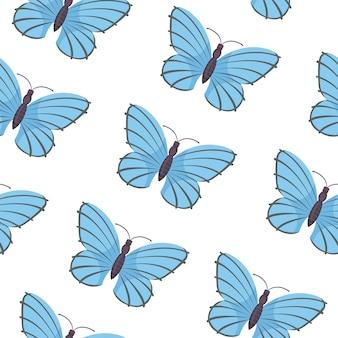 蝶のシームレスなパターン。夏の蝶。