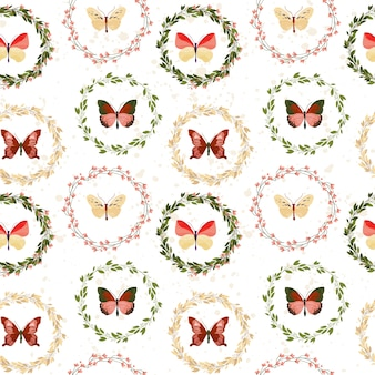Butterfly seamless pattern on white background.