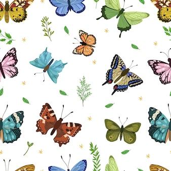 Бабочка бесшовные модели весной и летом