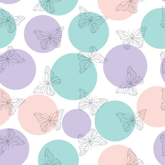 蝶のシームレスなシンプルパターン背景イラスト