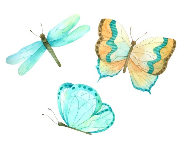 蝶セットデザインのハンドペイント水彩画コレクション