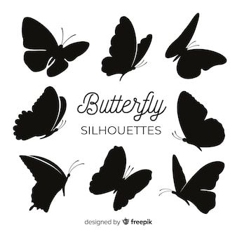 Butterfly silhouettes flying