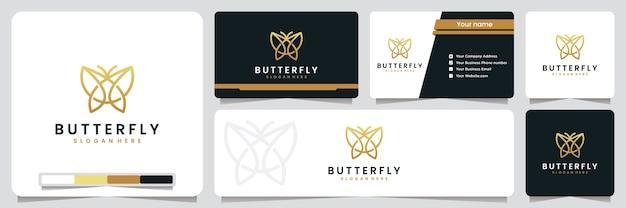 バタフライ、シンプルでエレガント、ゴールドカラー、ロゴデザインのインスピレーション