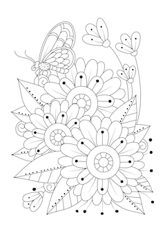 The butterfly sits on the flowers  art line illustration for coloring art therapy