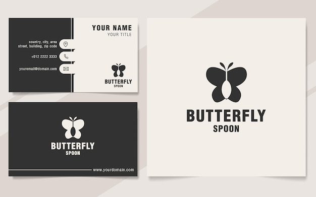 Butterfly spoon logo template on monogram style