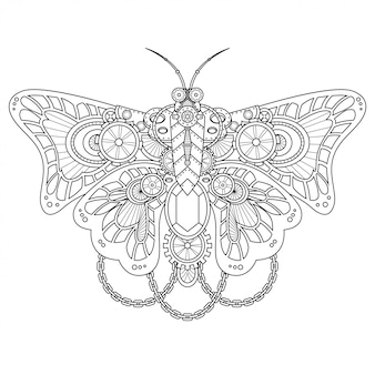 Butterfly steampunk illustration lineal style