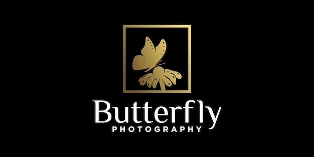 Butterfly sucking flower logo design, beautiful animal in gold color