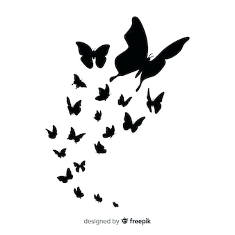 Butterfly swarm silhouette background
