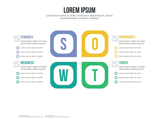 Butterfly swot infographic element and presentation template