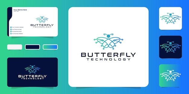Butterfly technology logo design inspiration with connecting lines and business cards