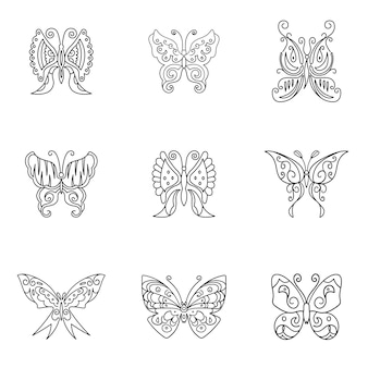 Набор векторных бабочка. простая иллюстрация формы бабочки, редактируемые элементы, могут быть использованы в дизайне логотипа