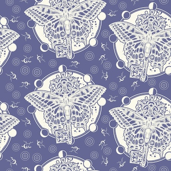 Butterfly and vintage key. seamless pattern