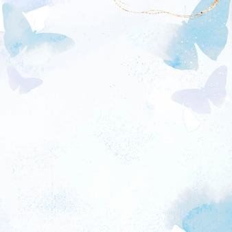 蝶の結婚式の背景、水彩ボーダーデザインベクトル