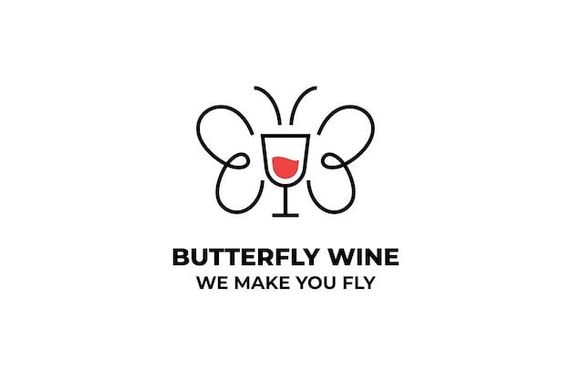 Butterfly wine fly business logo