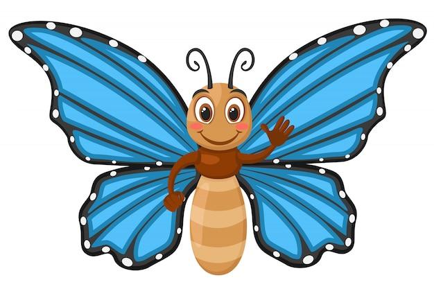 青い翼笑顔と白い背景の上の波と蝶します。キャラクター