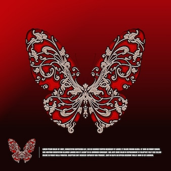 Butterfly with classic decoration template