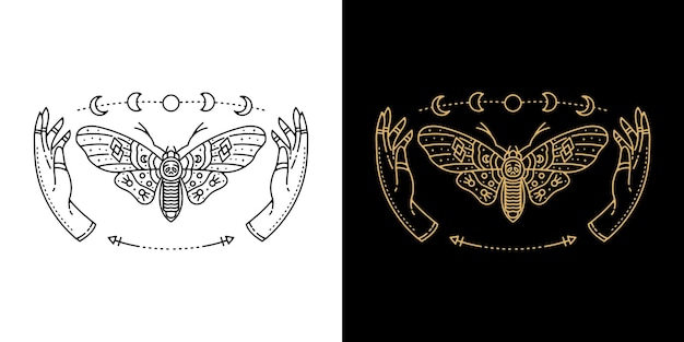 Butterfly with hand and moon tattoo monoline design