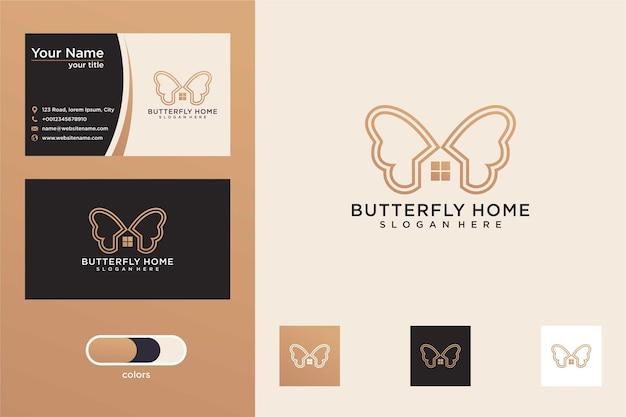 Бабочка с дизайном логотипа дома и визитной карточкой