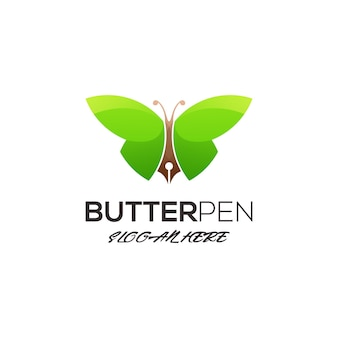 Butterfly with pen logo template