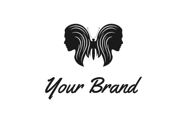 夜のバーストリップクラブのロゴデザインベクトルのセクシーな女性の女の子の顔と蝶