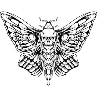 Бабочка с черепом силуэт головы
