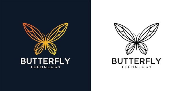 Butterfly with technology network logo design