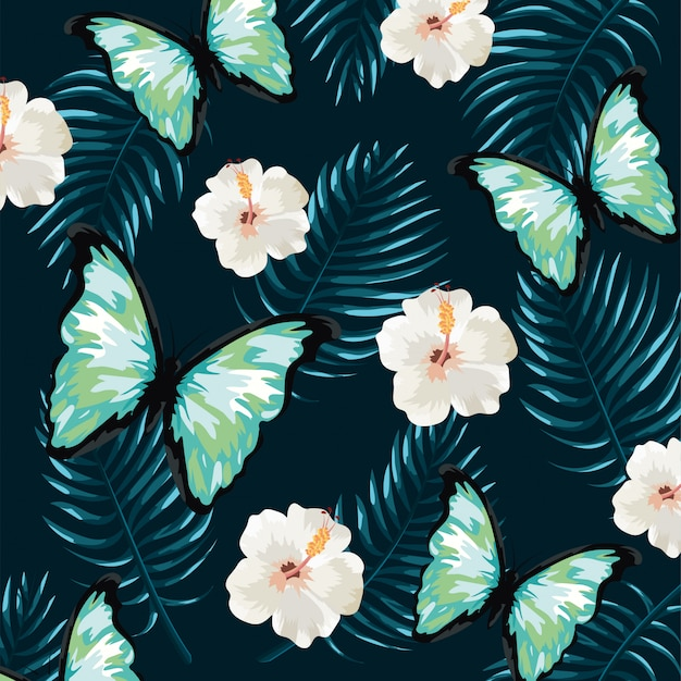 Butterfly with tropical flowers and leaves background