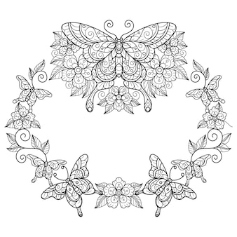 Butterfly wreath hand drawn sketch illustration for adult coloring book