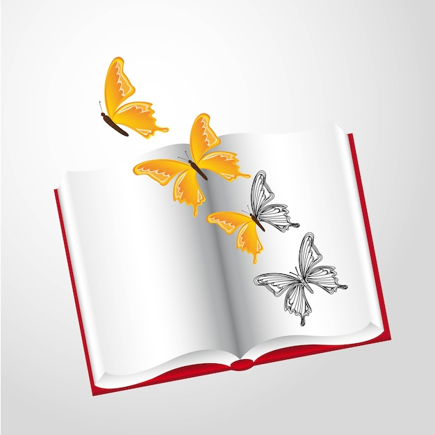 Butterlies and book over gray background