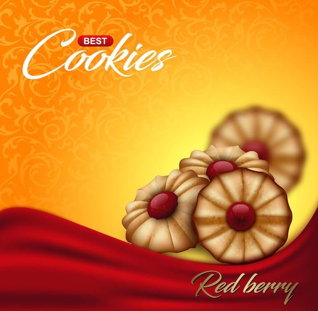 花柄の背景に赤いベリージャムとバタークッキー。ラベル、パッケージ、または広告ポスターのデザイン。赤い布の波と明るいオレンジと黄色のビスケットの背景。