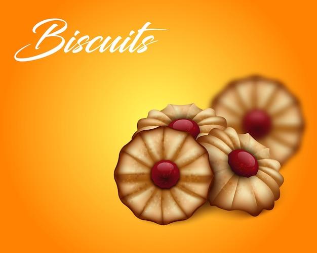 明るいオレンジと黄色の背景に赤いジャムとバタークッキー。