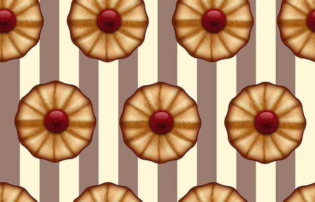 ココアとバニラカラーのシームレスな背景のように、ストライプのブラウンとベージュに赤いジャムが付いたバタークッキー。