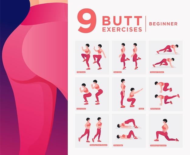 Набор тренировок для сжигания жира ягодиц женщины делают фитнес-упражнения