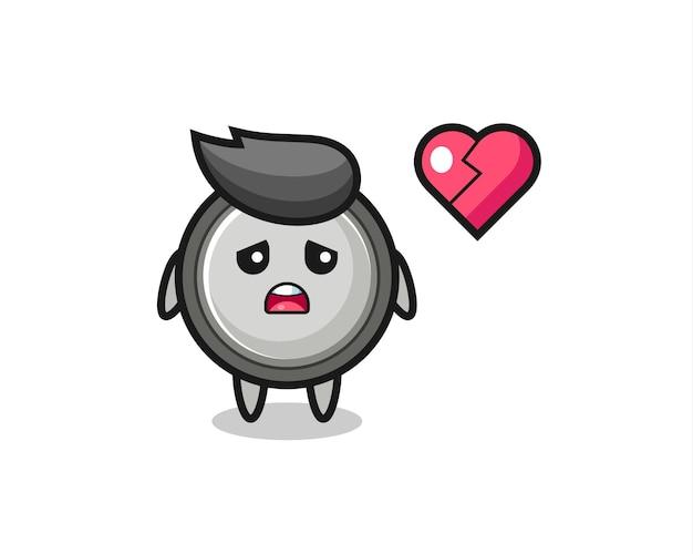 Иллюстрация шаржа кнопки клетки - разбитое сердце, милый дизайн стиля для футболки, стикер, элемент логотипа