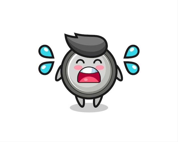 Button cell cartoon illustration with crying gesture , cute style design for t shirt, sticker, logo element