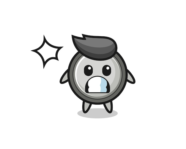 충격을 받은 제스처가 있는 버튼 셀 캐릭터 만화, 티셔츠, 스티커, 로고 요소를 위한 귀여운 스타일 디자인
