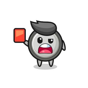 レッドカードを与える審判としてのボタン電池のかわいいマスコット、tシャツ、ステッカー、ロゴ要素のかわいいスタイルのデザイン